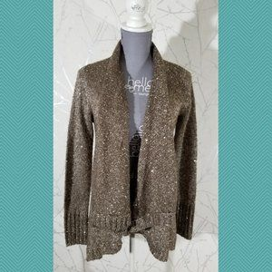Sisters Light Brown Sequined Open Front Cardigan